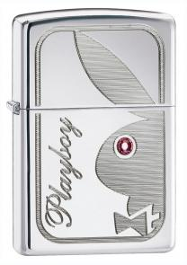 Zippo Playboy Bunny w/ Pink Swarovski Crystal, High Polish Chrome Classic
