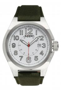 Zippo Watch White Face / Olive Fabric Band