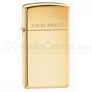 Zippo High Polish Brass, Slim, Engraved Solid Brass