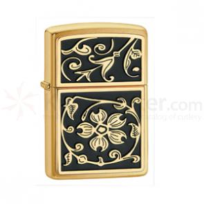 Zippo Gold Floral Flush Emblem, Brushed Brass Classic