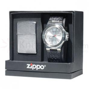 Zippo® Brushed Chrome, Lighter & Watch Set