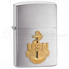Zippo Navy Anchor Emblem, Brushed Chrome Classic