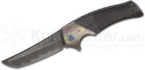 Zscherny Hand Made Knives Custom Shinogi Flipper 3.75 inch Nichols XHP Core Damascus Blade, Stippled Carbon Fiber Handles with Timascus Bolsters